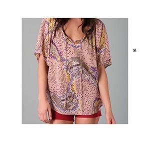 Parker Pink Silk Metallic Graphic Loose Blouse